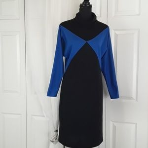 VTG sz 6 fitted long sleeve color block dress